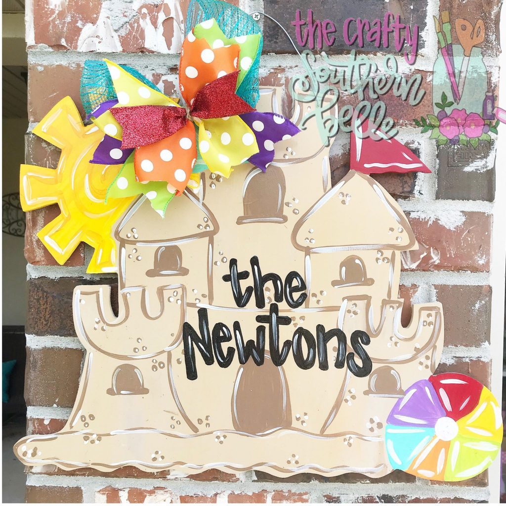 Sandcastle Painted Door Hanger by Southern ADOORnments