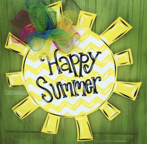 Happy Summer Sunshine Painted DIY Door Hanger by Southern ADOORnments