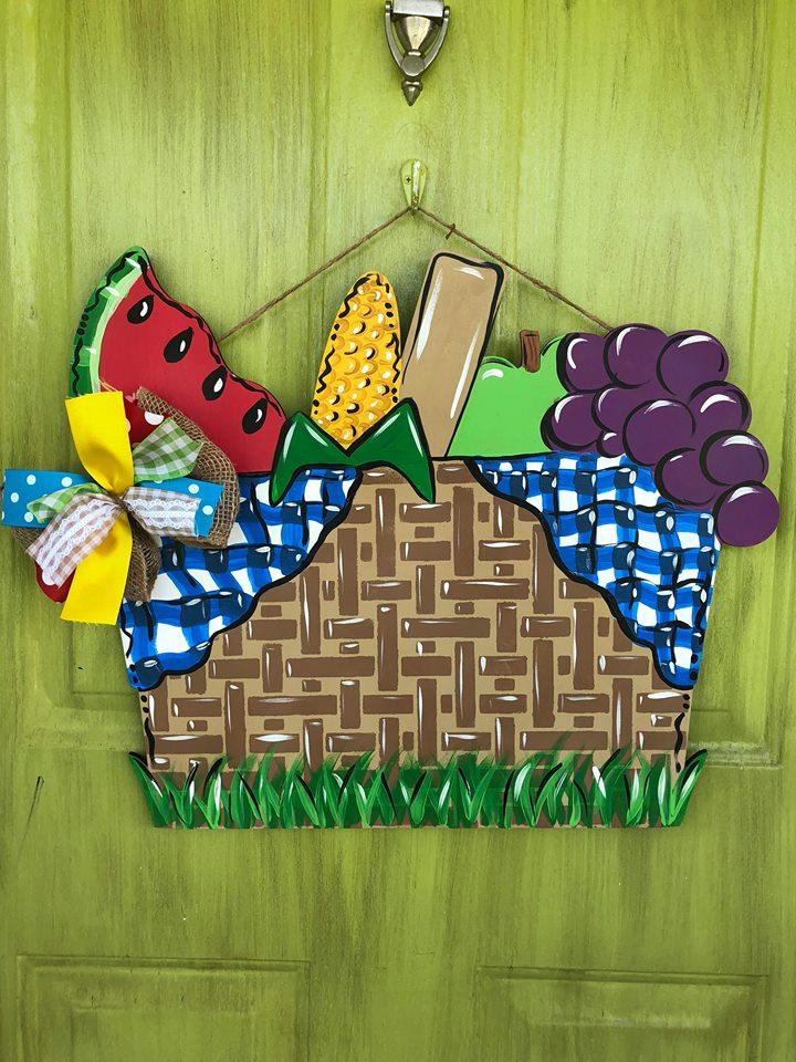Summer Picnic Basket Painted Door Hanger