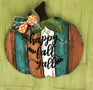 Happy Fall Yall Pumpkin Autumn Door Hanger by Southern ADOORnments