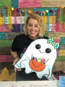 Cute Ghost Painted Halloween Door Hanger by Southern ADOORnments