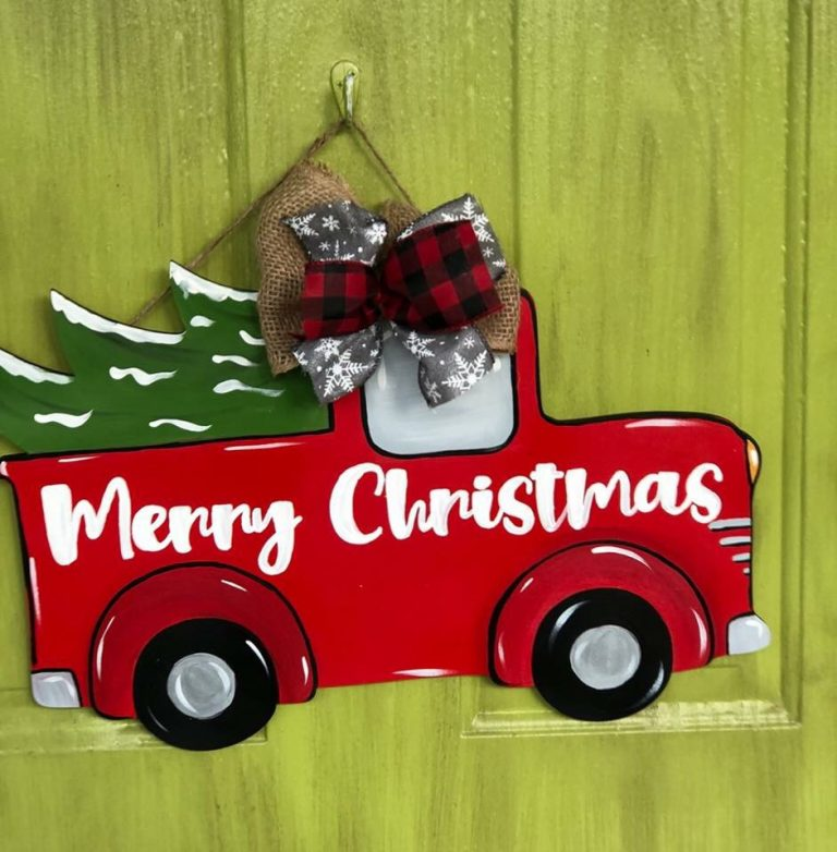Merry Christmas Pickup Truck Tree Door Hanger by Southern ADOORnments