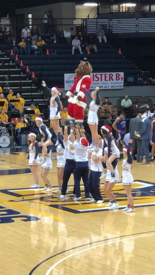 Murray State Basketball Cheerleaders with Santa Dunker Christmas Painted Backdrop by Southern ADOORnments