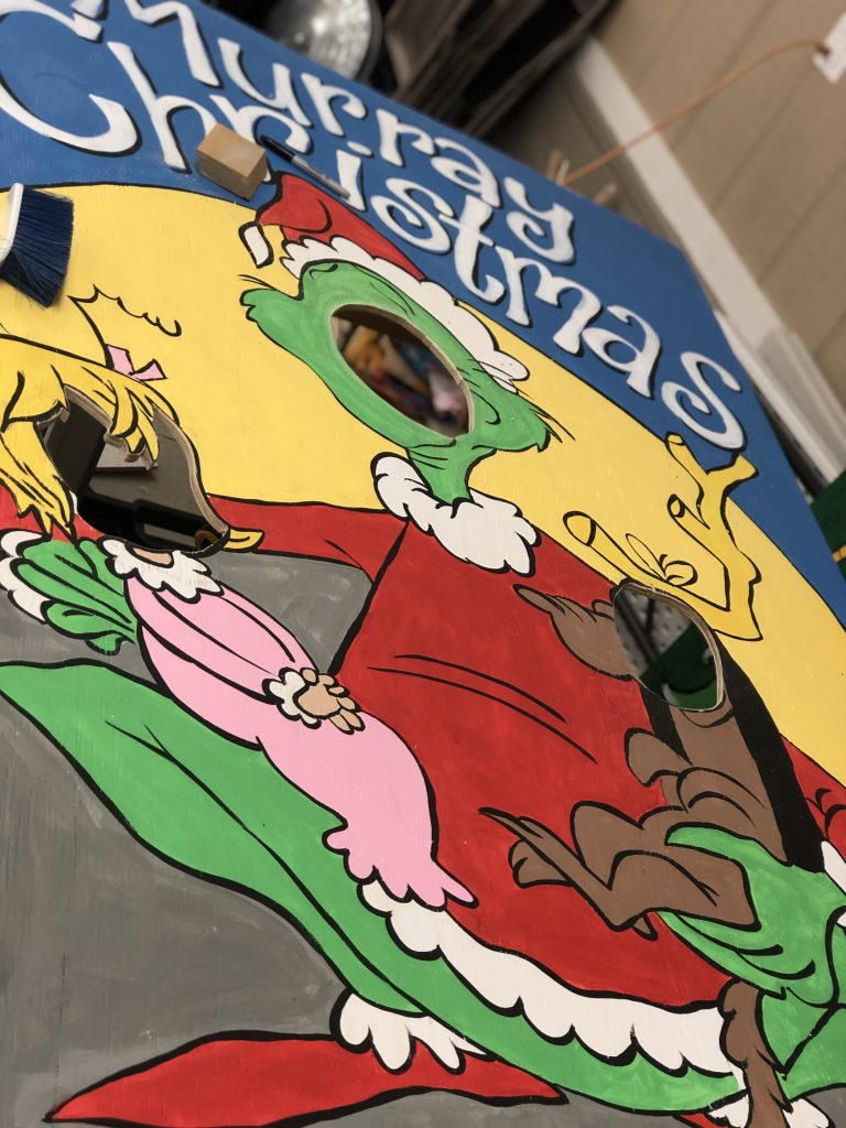Painting Murray State Basketball Grinch Christmas Painted Photo Props by Southern ADOORnments
