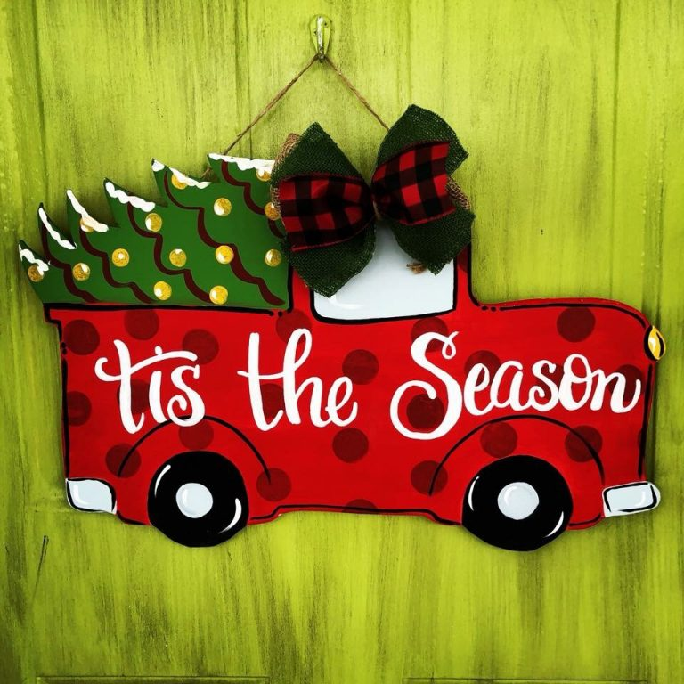 Polka Dot Pickup Truck Christmas Door Hanger by Southern ADOORnments