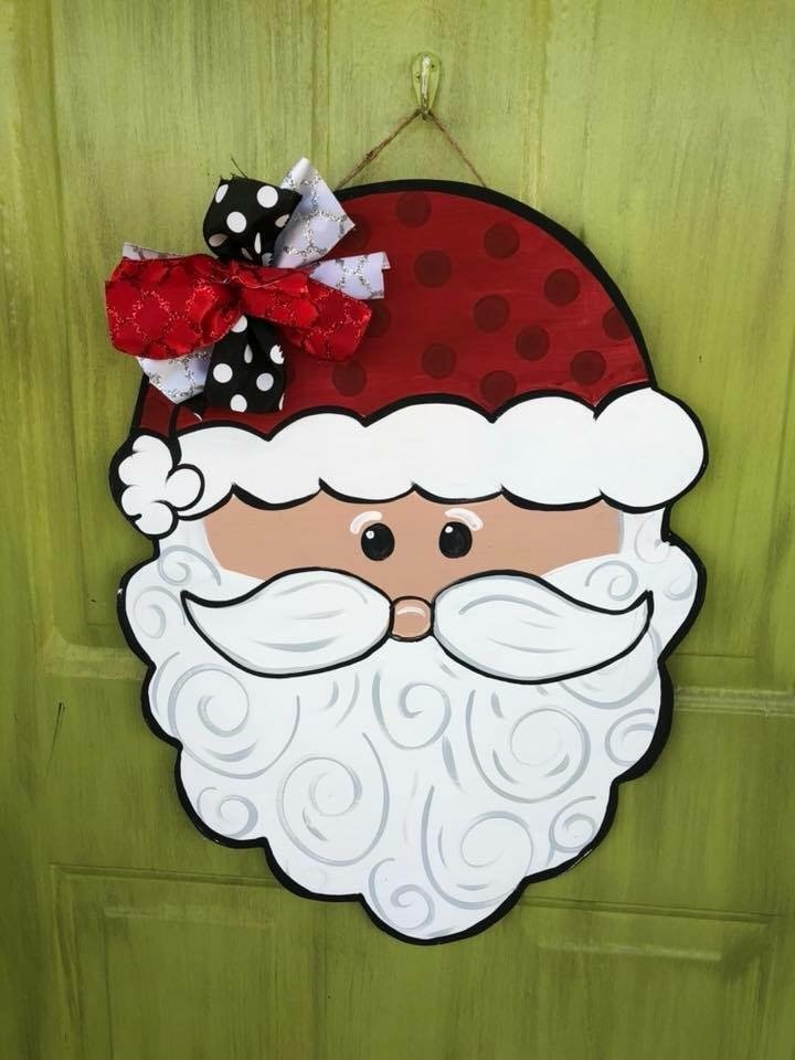 Santa Claus Red White Christmas Door Hanger by Southern ADOORnments