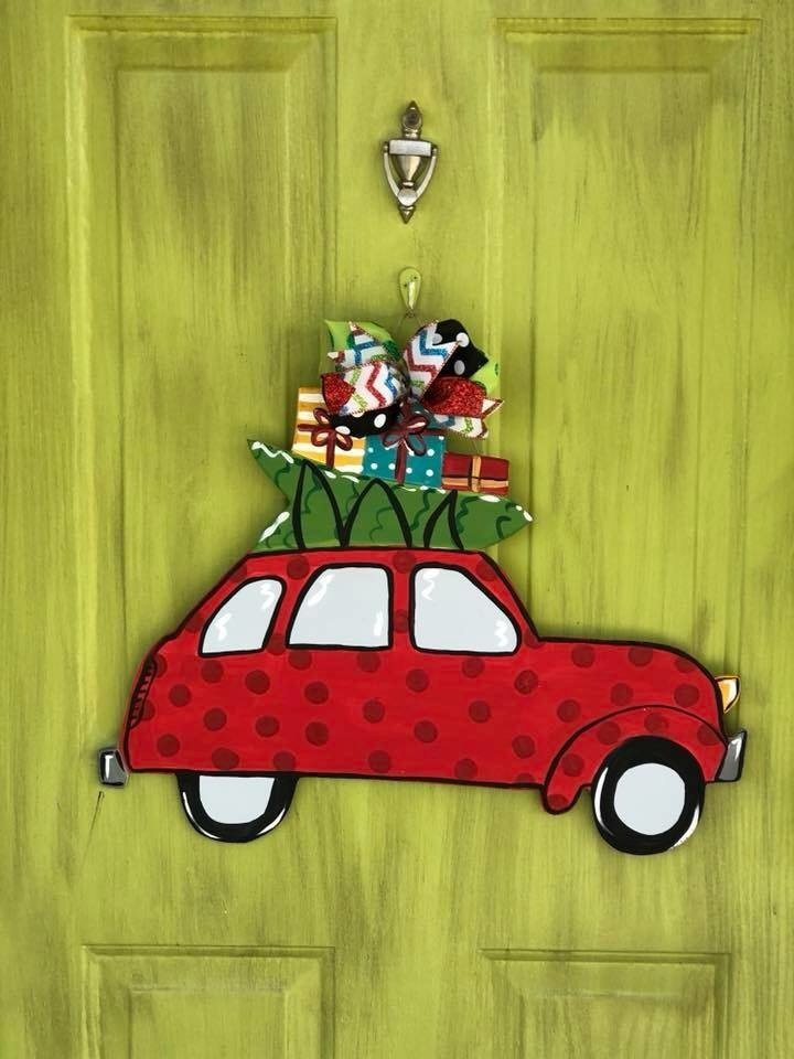 Station Wagon Car Holiday Tree Christmas Door Hanger by Southern ADOORnments
