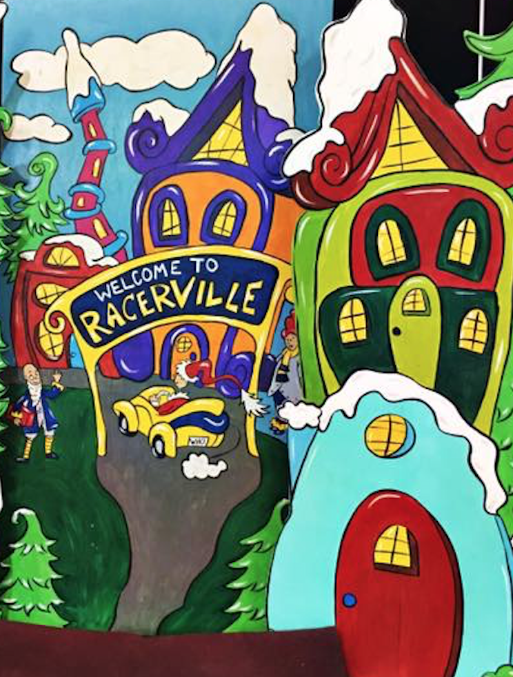 Welcome to Racerville - Murray State Grinch Photo Prop Backdrop