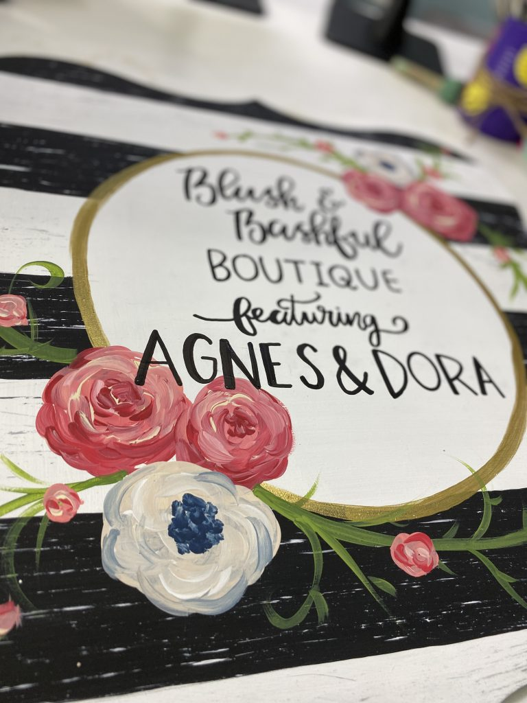 Boutique Sign Shabby Chic Flowers Hand Lettering Door Hanger by Southern ADOORnments