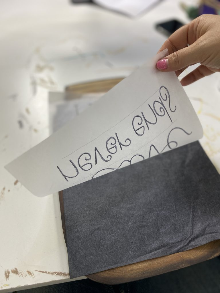Graphite and Tracing Paper Technique for Handlettering Door Hangers by Southern ADOORnments