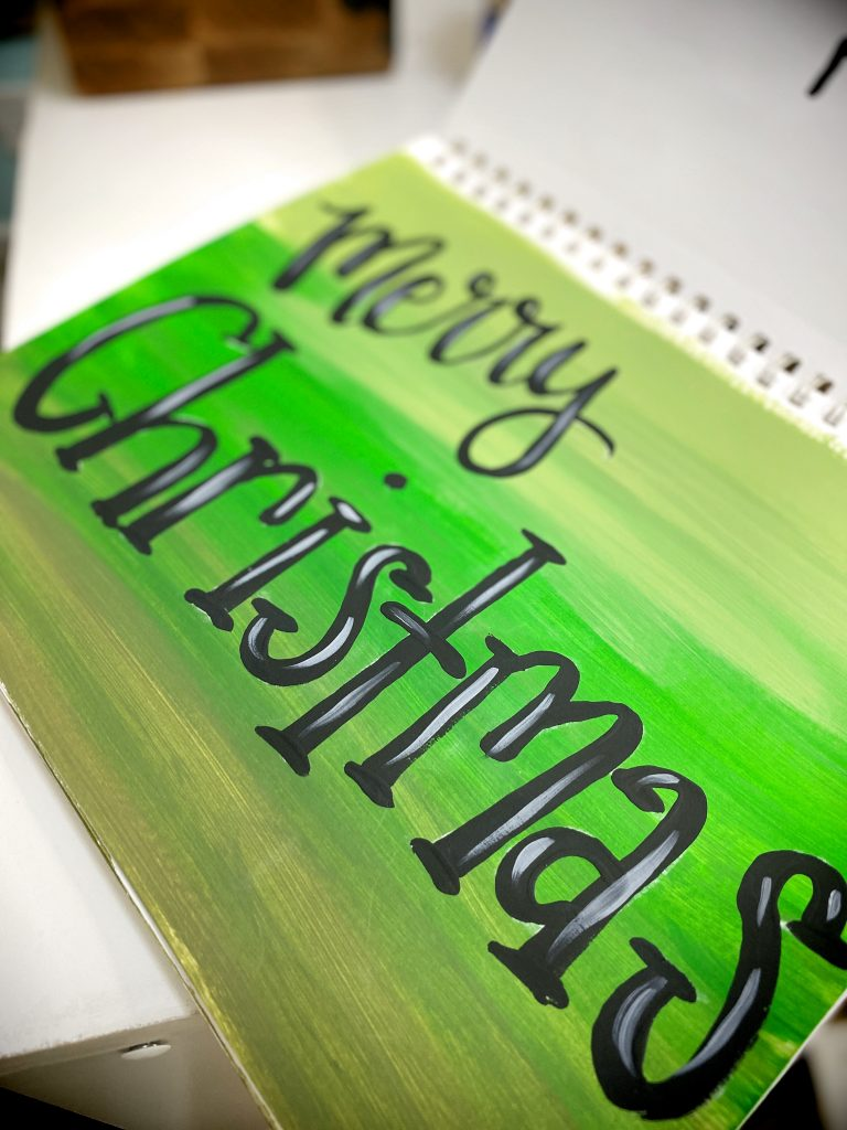 Merry Christmas Hand Lettering Brushes for Door Hanger by Southern ADOORnments