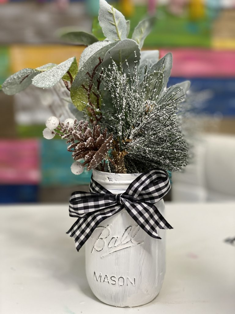 Painted Christmas Mason Jar with Buffalo Plaid Ribbon by Southern ADOORnments