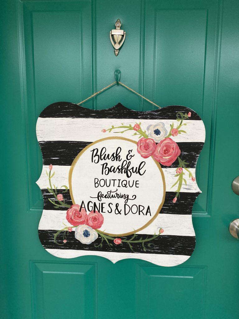 Boutique Painted Sign on Door Shabby Chic Flowers Hand Lettering Door Hanger by Southern ADOORnments