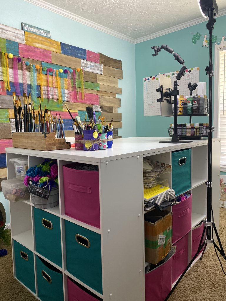 2 Easy DIY Craft Room Desk Island Project by Southern ADOORnments