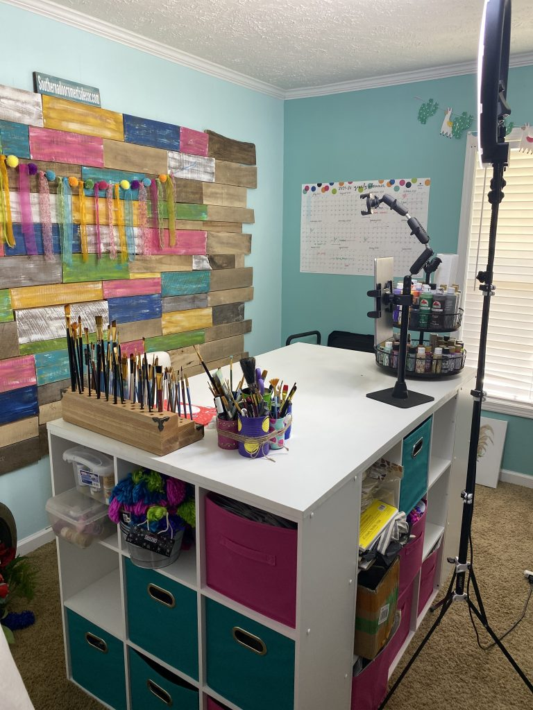 3 Easy DIY Craft Room Desk Island Project by Southern ADOORnments