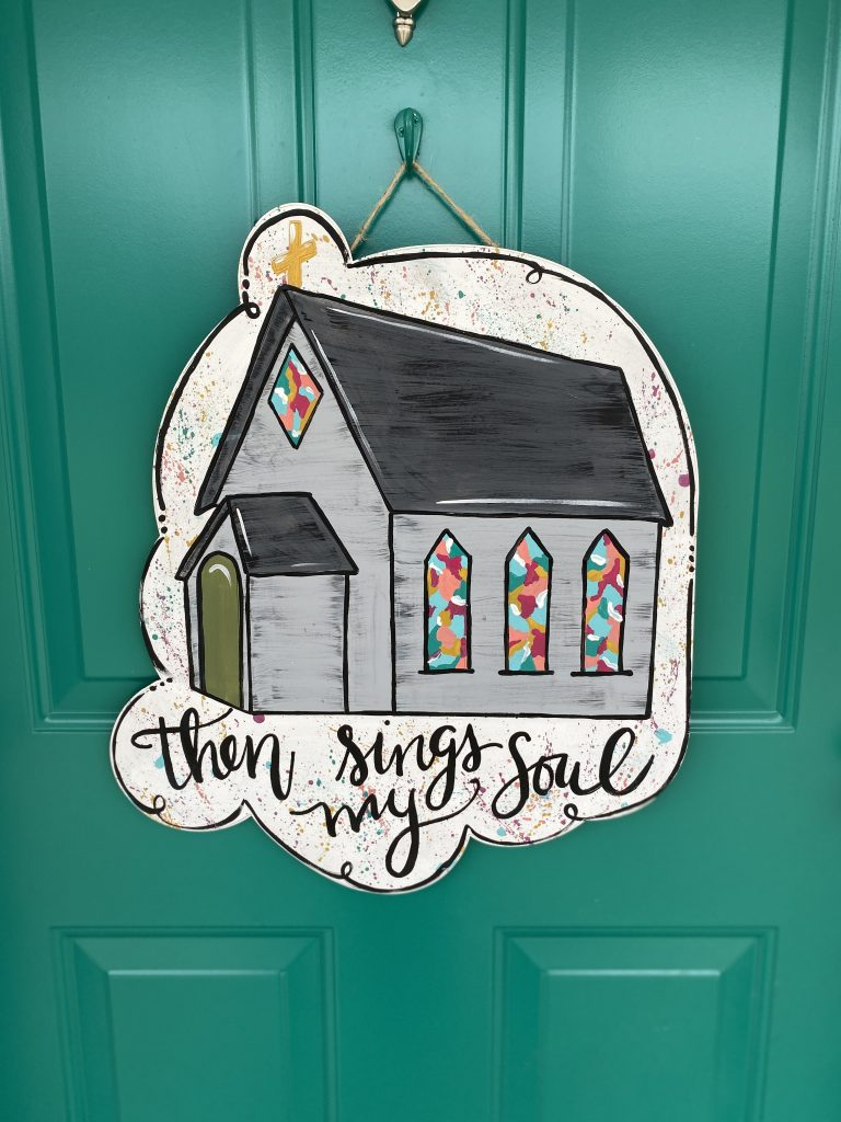 Door Stained Glass Then Sings My Soul Hymn Church Door Hanger by Southern ADOORnments