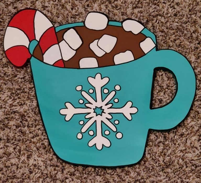 Hot Chocolate Peppermint Cocoa Winter Christmas DIY Painted Door Hanger by Southern ADOORnments