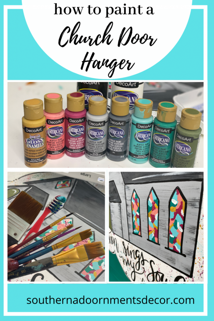 How To Paint Stained Glass Then Sings My Soul Hymn Church Door Hanger by Southern ADOORnments