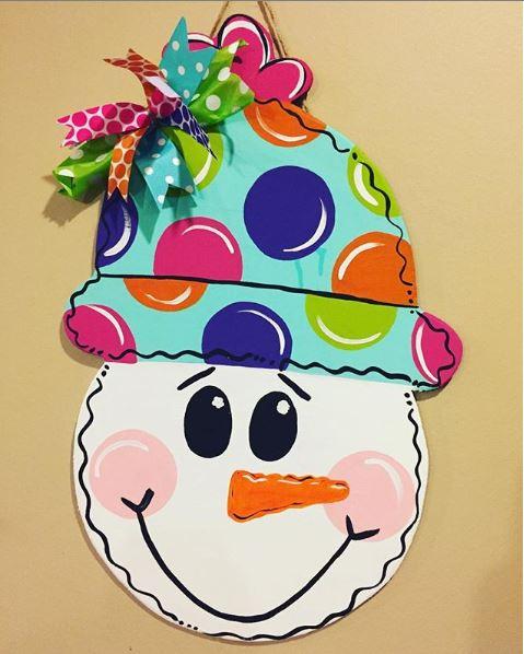 Snowman Snow Hat Christmas Winter Door Hanger by Southern ADOORnments