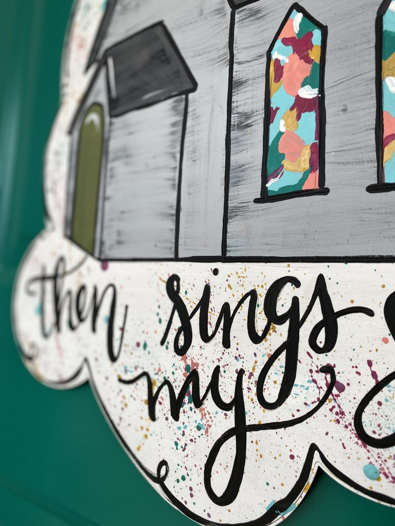 Splatter Detail Stained Glass Then Sings My Soul Hymn Church Door Hanger by Southern ADOORnments