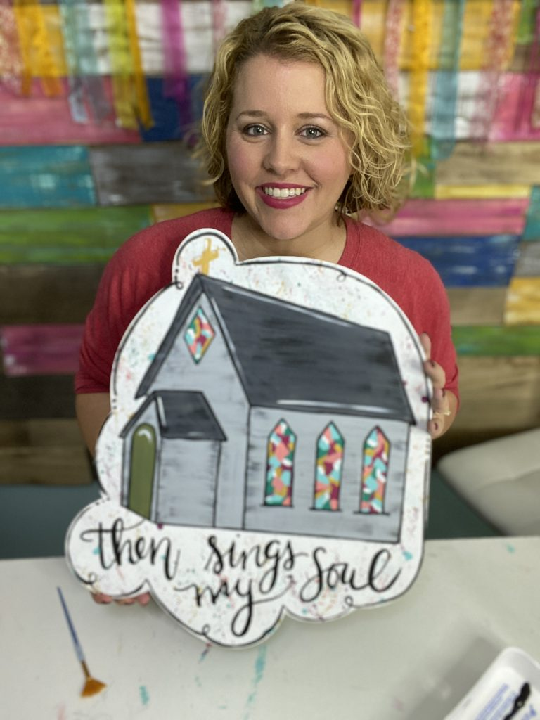 Tamara Bennett and Stained Glass Then Sings My Soul Hymn Church Door Hanger by Southern ADOORnments