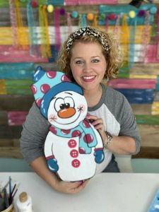 Tamara Bennett with Cuddly Snowman Winter DIY Painted Door Hanger by Southern ADOORnments