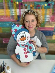 Tamara Bennett with Cuddly Snowman Winter DIY Painted Door Hanger by Southern ADOORnments