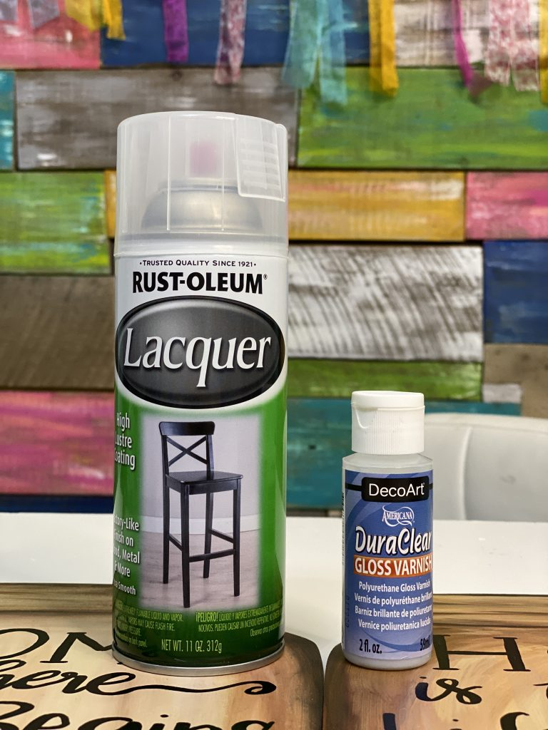 Best Sealants for Painted Door Hangers rustoleum Lacquer DecoArt DuraClear Gloss Varnish by Southern ADOORnments