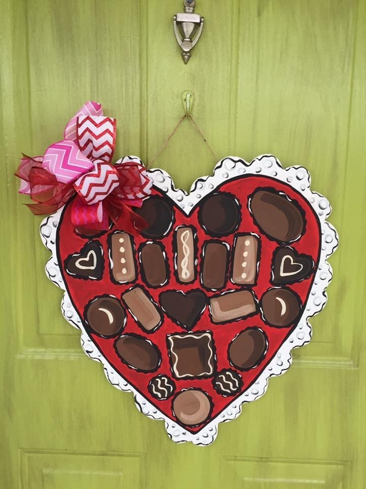 Box of Chocolates Valentine's Day Heart Door Hanger by Southern ADOORnments