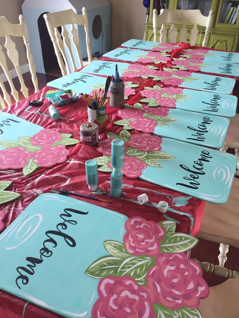 Mason Jar Welcome Door Hanger - How to Batch Paint by Southern ADOORnments