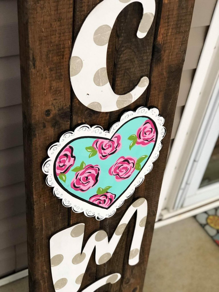 Painted Heart With Roses Flowers Door Hanger by Southern ADOORnments