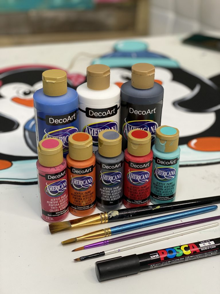 Paints for Snowy Penguins Winter Door Hanger by Southern ADOORnments