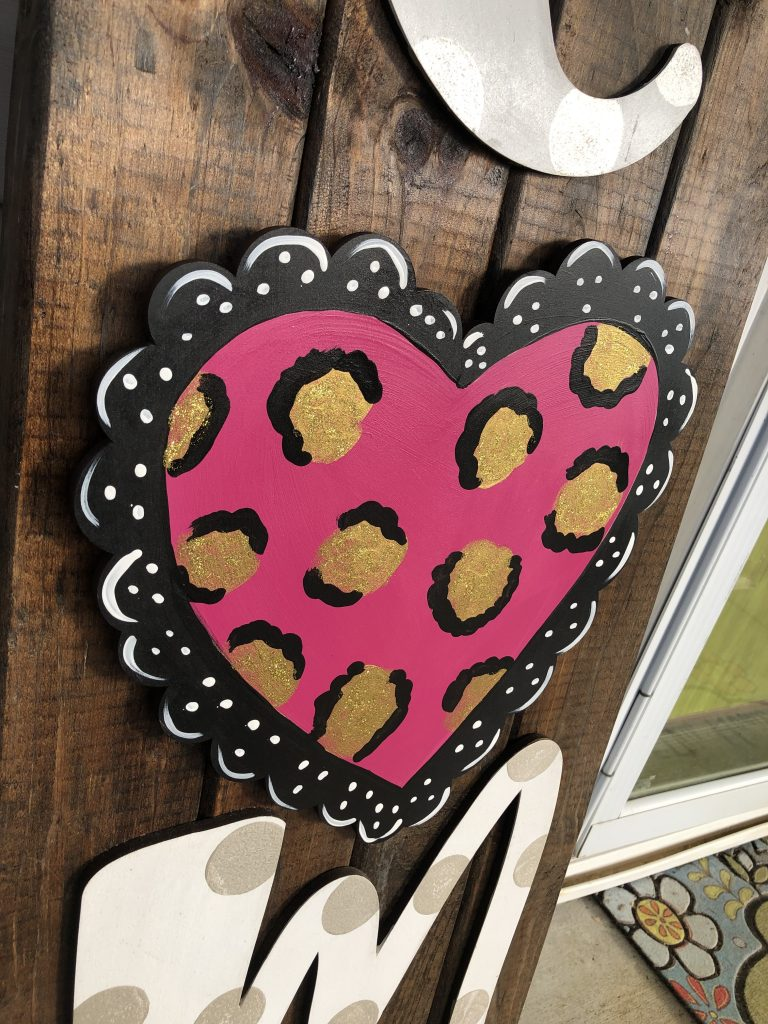 Scalloped Heart Sassy Black Pink Gold Leopard Valentine's Door Hanger by Southern ADOORnments