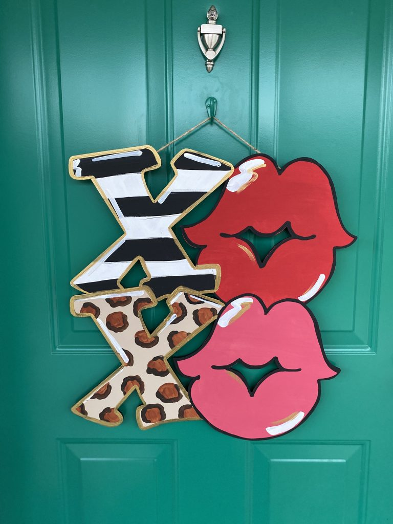 XOXO Valentine's Day Lips Front Door Hanger by Southern ADOORnments