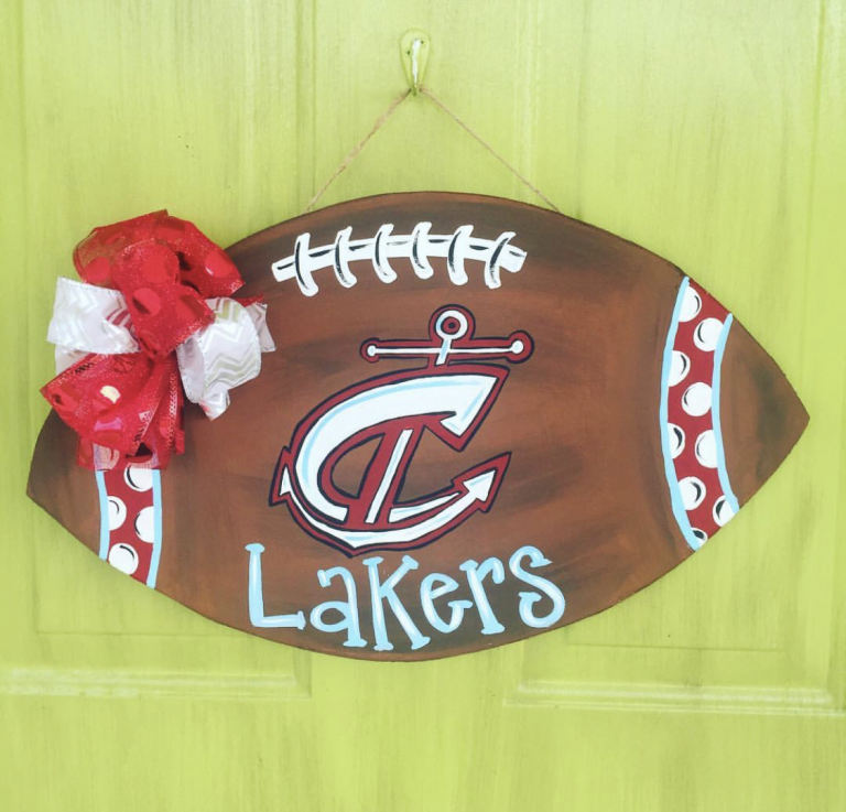 Custom Football Fall Sports Painted Door Hanger by Southern ADOORnments