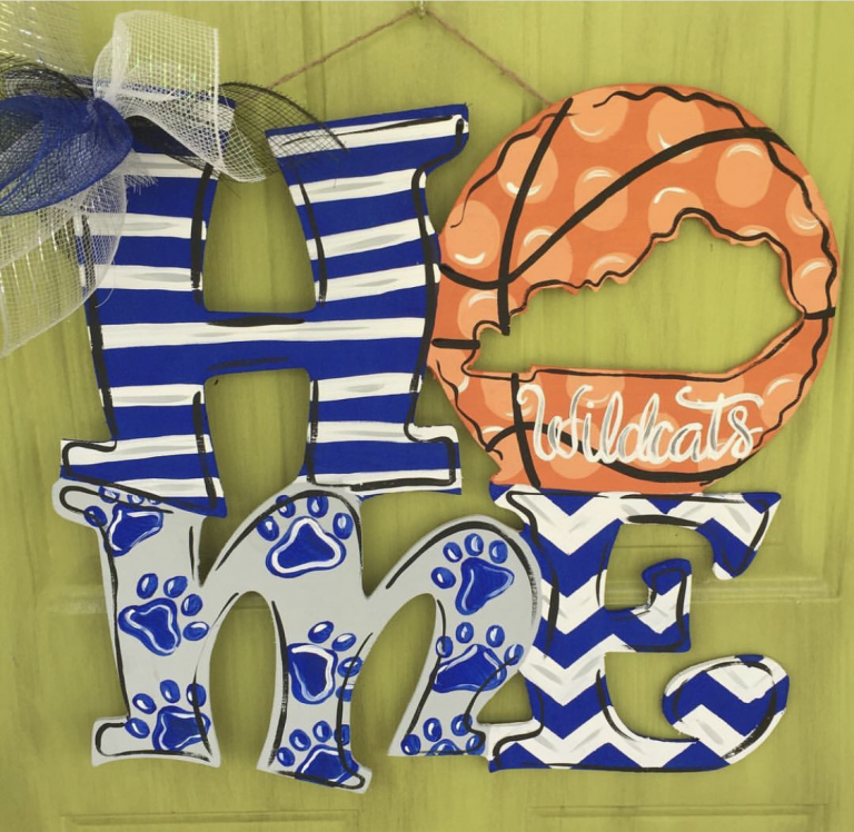 Home Kentucky UK Wildcats Basketball Sports Painted Door Hanger by Southern ADOORnments