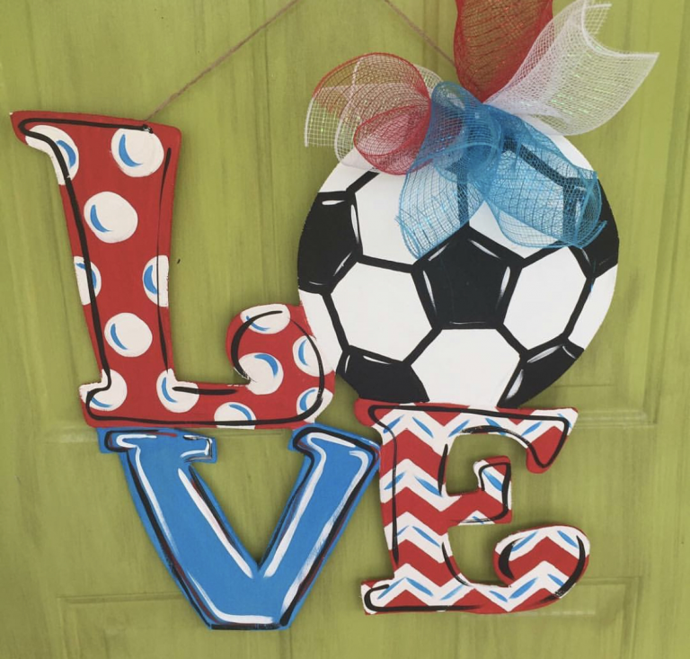 Love Soccer Ball Sports Painted Door Hanger by Southern ADOORnments