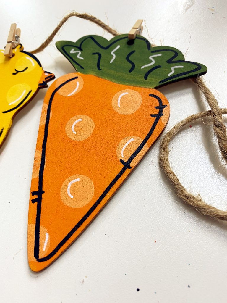 Painted Polka Dot Carrot Cutout on Easter Garland Dollar Tree Painted DIY Craft by Southern ADOORnments