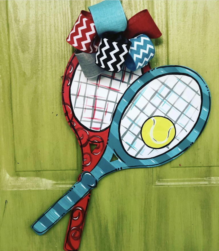 Tennis Ball Racquets Painted Sports Door Hanger by Southern ADOORnments