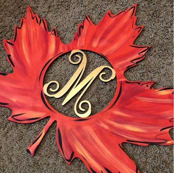 Monogram - Leaf - Wooden Door Hanger - Southern Adoorn-ments - Tamara Bennett