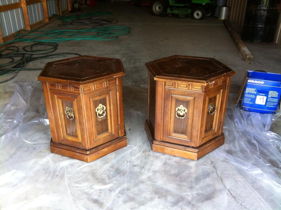 Repainted end tables furniture makeover by Southern ADOORnments