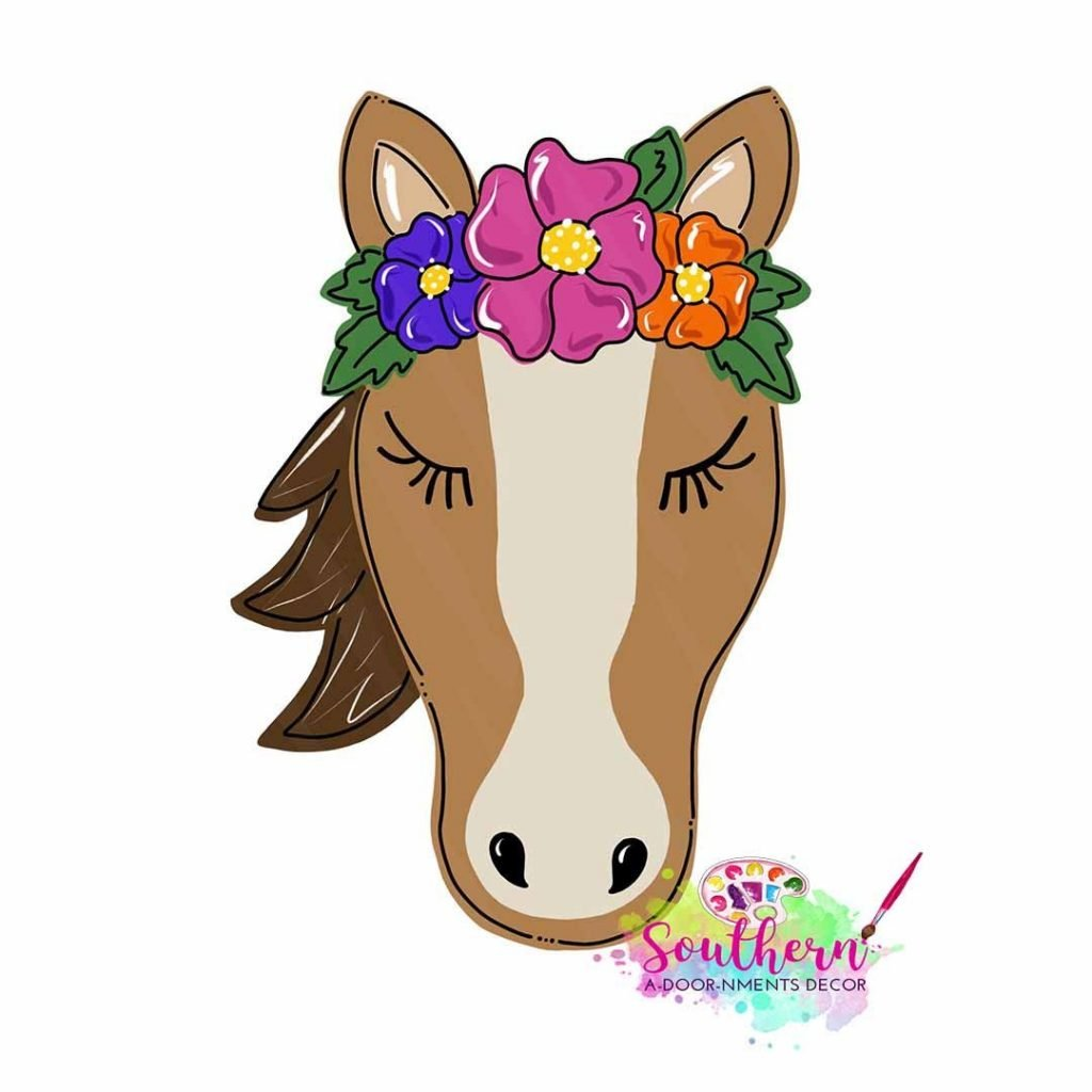 Sweet Horse Floral Door Hanger from Flower Farm Animals by Southern ADOORnments