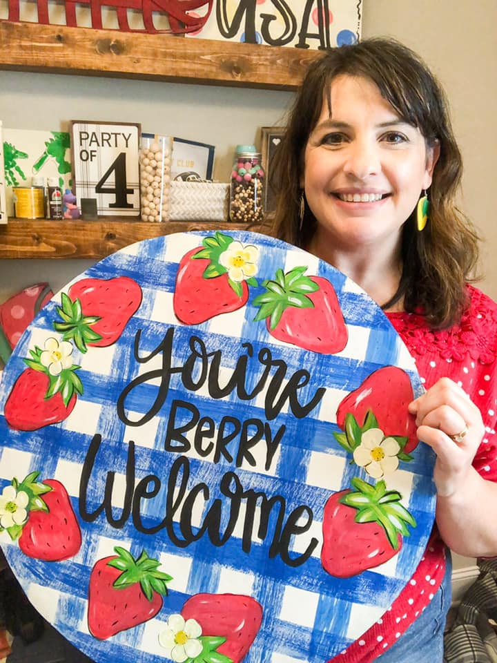 Amanda Bolding Strawberry Summer Picnic Door Hanger for Painters Clubhouse by Southern A-DOOR-nments