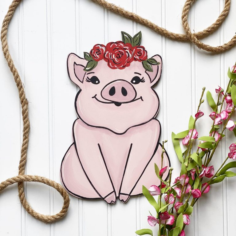 Cute Painted Pig Door Hanger with Flowers - Floral Farm Animals by Southern ADOORnments