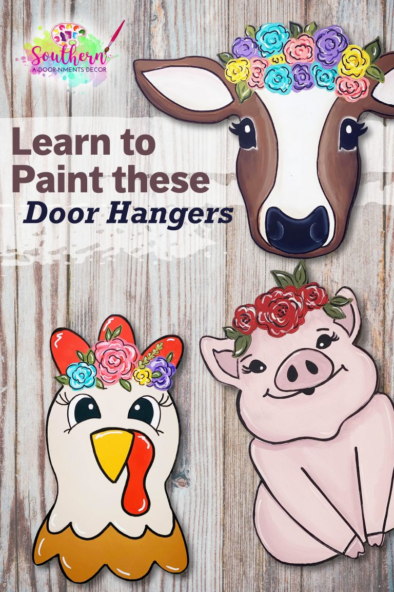 Floral Farm Animal Wooden Door Hangers - Summer Farmhouse Flower by Southern ADOORnments