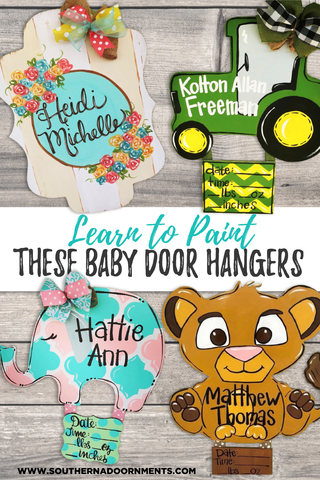 Learn to Paint DIY Personalized Wooden Signs for Baby Nursery by Southern A-DOOR-nments