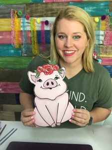 Painted Floral Piggy Door Hanger - Southern ADOORnments Flower Farm Animal