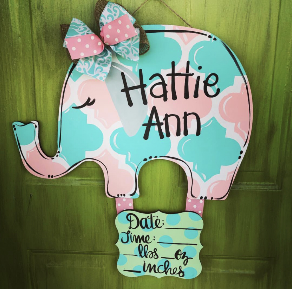 Pink Aqua Baby Girl Elephant Nursery Wall Decor DIY Painted Sign by Southern ADOORnments