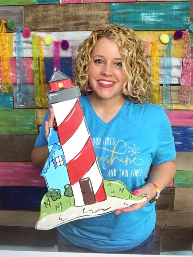 Tamara Bennett with Lighthouse Summer Door Hanger by Southern A-DOOR-nments