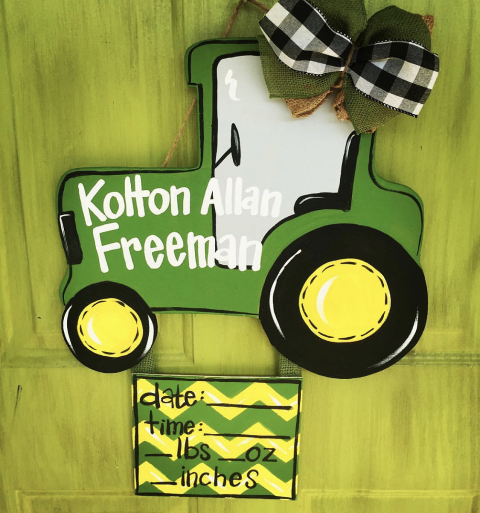 Tractor Baby Boy Nursery Farm DIY Painted Wooden Sign Personalized Gift by Southern ADOORnments